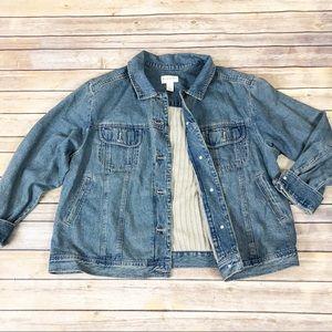 J. Jill Denim Jacket Sweater Back Detail Plus Size